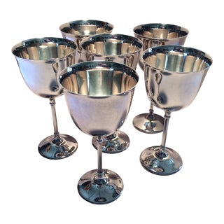 Italian Hollywood Regency Silverplate Water Goblets - Set of 6 For Sale