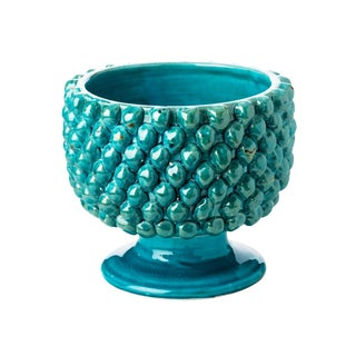 Vinci Pine Cone Turquoise Ceramic Planter For Sale