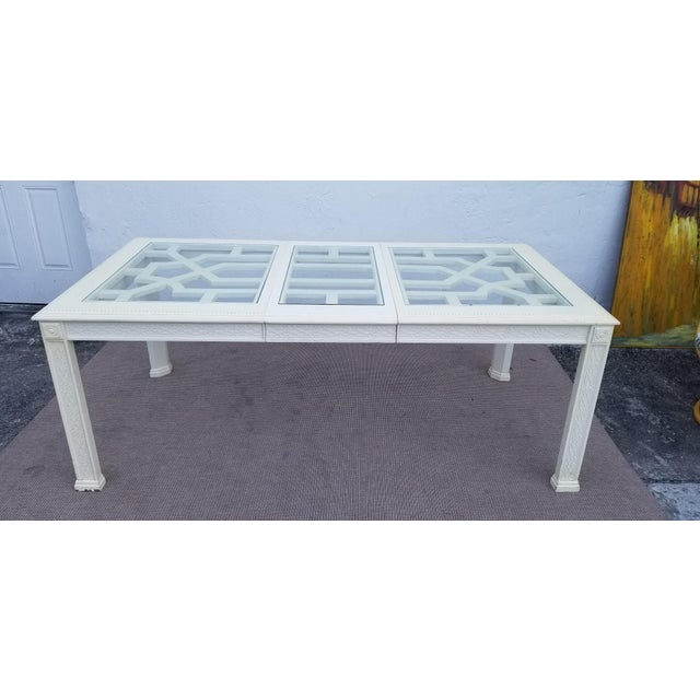 White 1960's Vintage Palm Beach Hollywood Regency Dining Table For Sale - Image 8 of 13