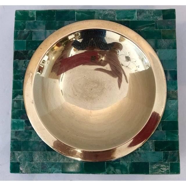 Mid-Century Modern Mid-Century Tessellated Green Stone Catchall, Manner or Karl Springer, C.1970 For Sale - Image 3 of 7