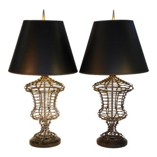 1980s Hollywood Regency Maitland Smith Sculptural Urn Table Lamps - a Pair