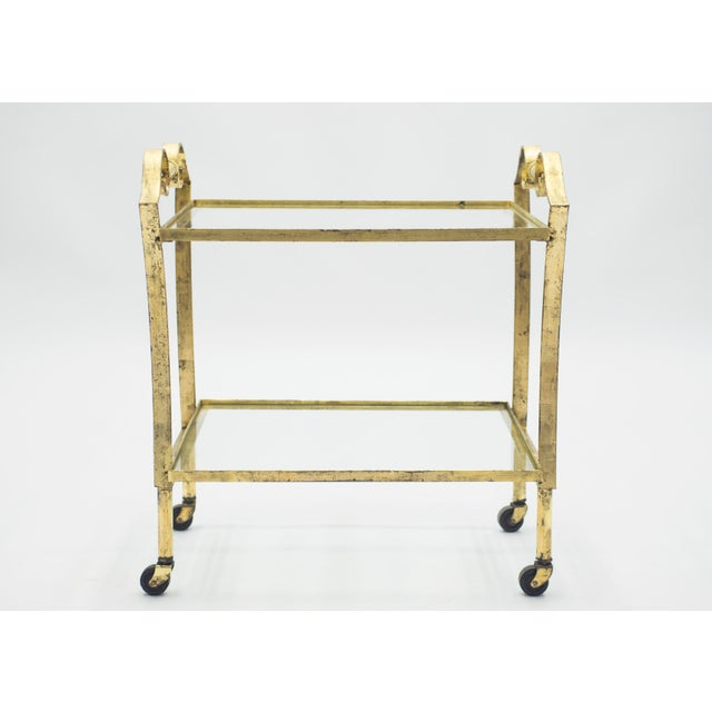 Art Deco French Neoclassical Maison Ramsay Gilded Iron Bar Cart 1940s For Sale - Image 3 of 12