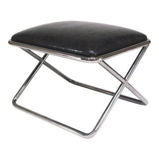 Milo Baughman chrome and leather X-base stool For Sale