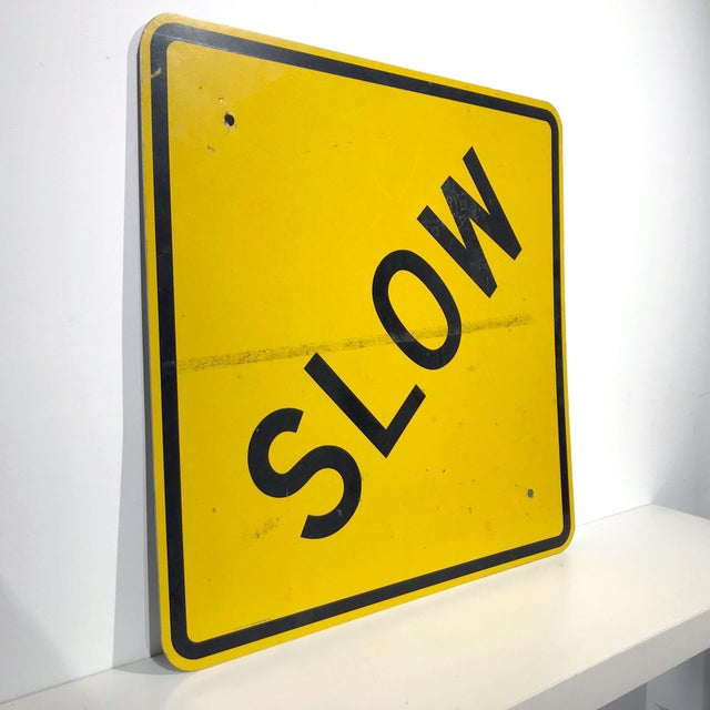 Mid-Century Modern Vintage Reflective Slow Traffic Caution Construction Sign For Sale - Image 3 of 8