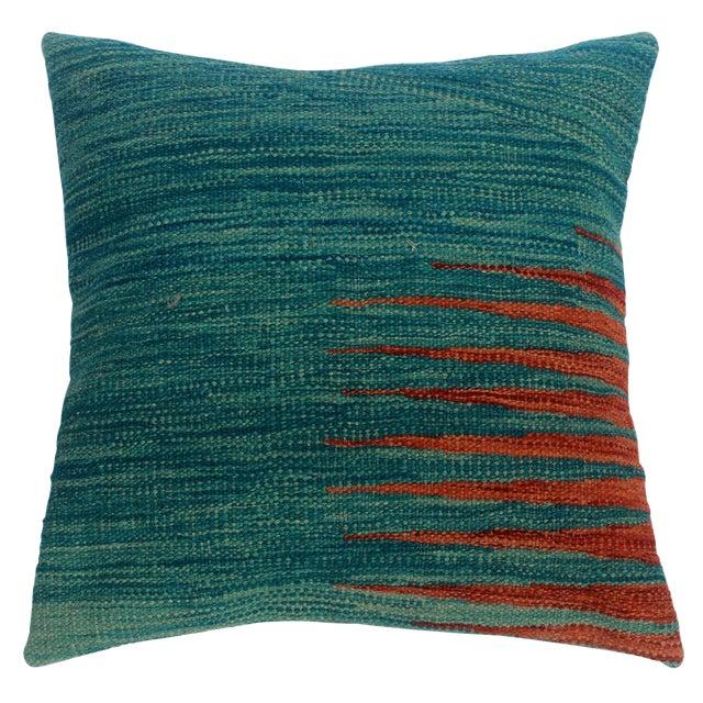"Devon Blue/Rust Hand-Woven Kilim Throw Pillow(18""x18"") For Sale"