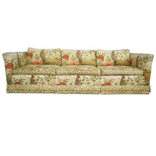 1970s Chinoiserie Ethan Allen Floral Down Filled Peacock Sofa For Sale