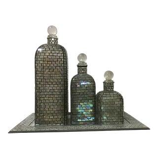 Vintage Mario Pinzoni / Seguso Vetri d'Arte French Style Glass Bottle Decanter Tray Set - 4 Pieces For Sale