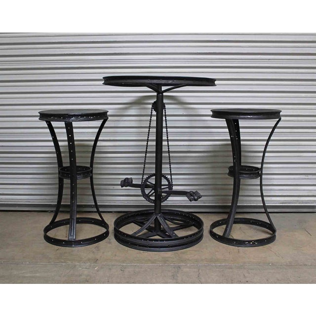 Glass Top Metal Bicycle Bar with Stools Set - Set of 3 - Image 3 of 5