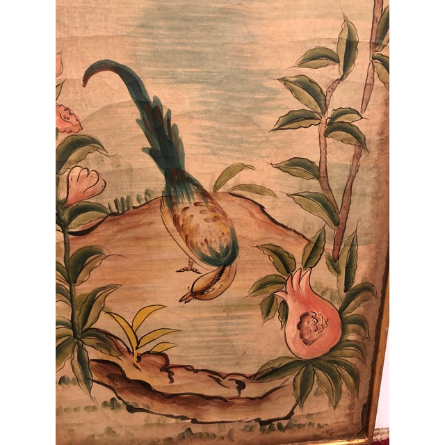 An elegant aged pair of Asian style rectangular hand painted panels having beige background with craquelure, lovely birds...