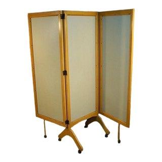 Vintage Mid-Century Modern Rolling Folding Screen Room Divider For Sale