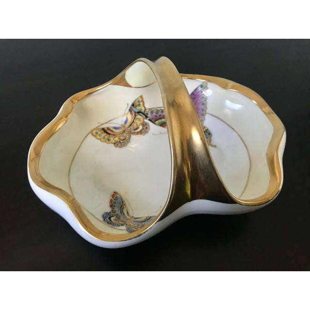 Vintage Hand Painted Butterfly Nippon Decorative Basket Catchall For Sale - Image 11 of 11