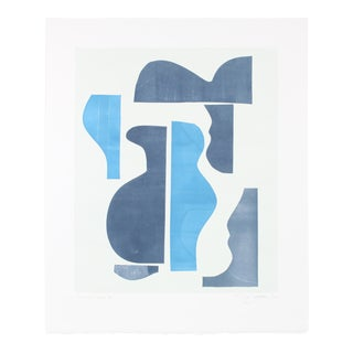 "Rob Delamater ""Pottery Forms Iii"" Abstract Monotype on Paper in Navy and Baby Blue, 2018 2018 For Sale"