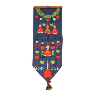 Vintage Mid-Century Scandinavian Holiday Wall Hanging With Bell