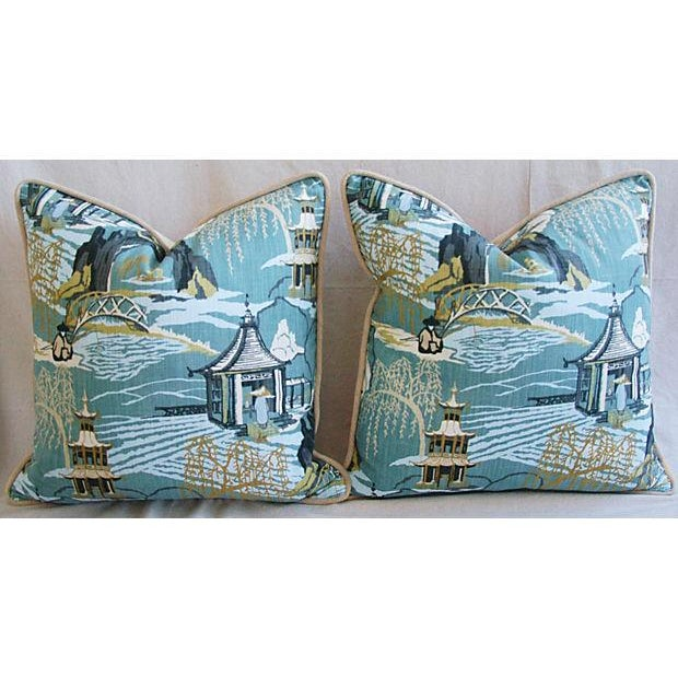 Designer Chinoiserie Asian Toile Pillows - Pair - Image 7 of 7