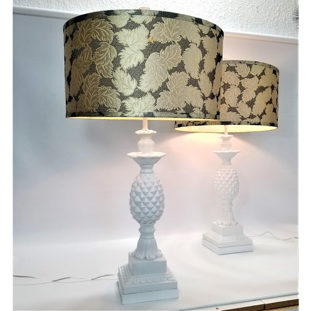 Huge Pair of Pineapple Table Lamps - Restored - Solid Plaster Wood Base - Mid Century Modern Hollywood Regency Palm Beach Chic - Signed and Dated 1957 For Sale In Miami - Image 6 of 12
