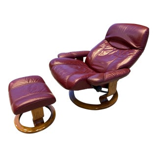 "Ekornes Stressless Model ""Consul"" Large Leather Recliner and Footstool - a Pair For Sale"