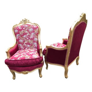 1940s Vintage French Louis XVI Style Chairs in Red- a Pair For Sale