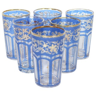Set of Six Vintage Moroccan Blue and Gold Glasses For Sale