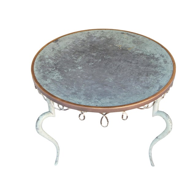 French Iron and Zinc Cocktail Table For Sale - Image 4 of 6