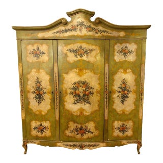 An Italian Continental Floral Painted Wardrobe or Armoire Chest Cabinet