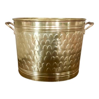 Large Vintage Brass Fish Scale Cachepot Planter For Sale