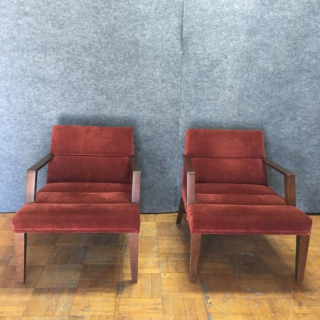 Bright Elana Burgundy Lounge Armchairs - A Pair - Image 3 of 11