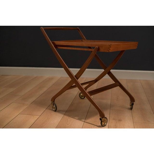 Mid 20th Century Danish Modern Teak Folding Bar Cart For Sale - Image 5 of 10