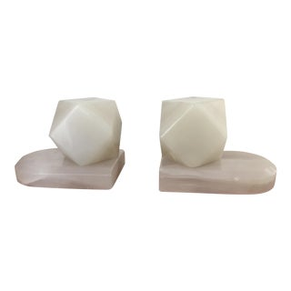 Geometrical White Onyx Stone Bookends - a Pair For Sale