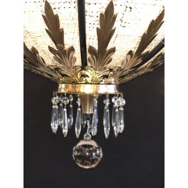 A Pair of Art Deco Palatial Eight Arm Ebony and Brass Chandeliers w Shades For Sale - Image 4 of 12