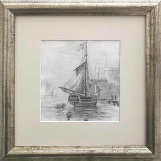 19th Century Graphite Drawing of an American Ship For Sale