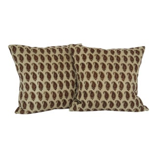 Boho Chic Brown Paisley Hand Blocked Print Pillows - a Pair For Sale