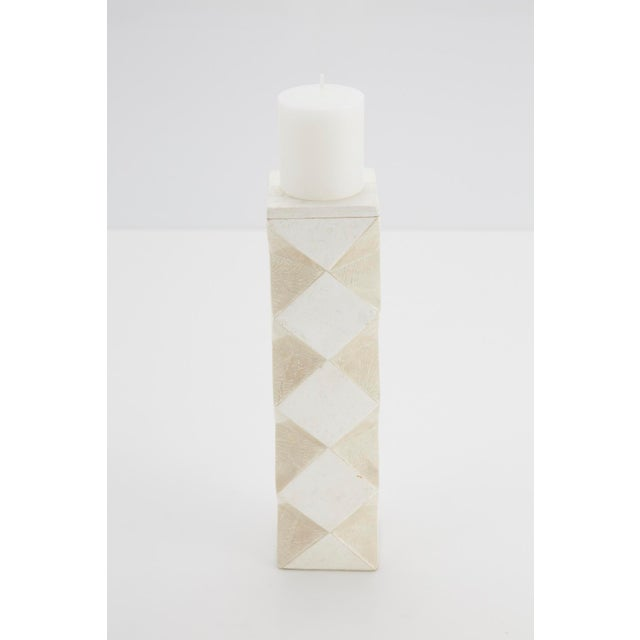 Maitland - Smith 1990s Convertible Faceted Postmodern Tessellated Stone Candlestick or Vase For Sale - Image 4 of 8