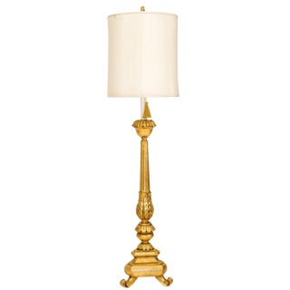 Neoclassical Giltwood Floor Lamp W/Shade For Sale