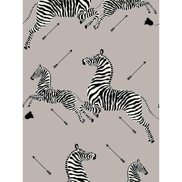 Sample, Scalamandre Zebras, Silver Wallpaper For Sale