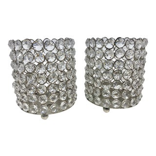 Crystal Decorated Candle Holders - a Pair For Sale