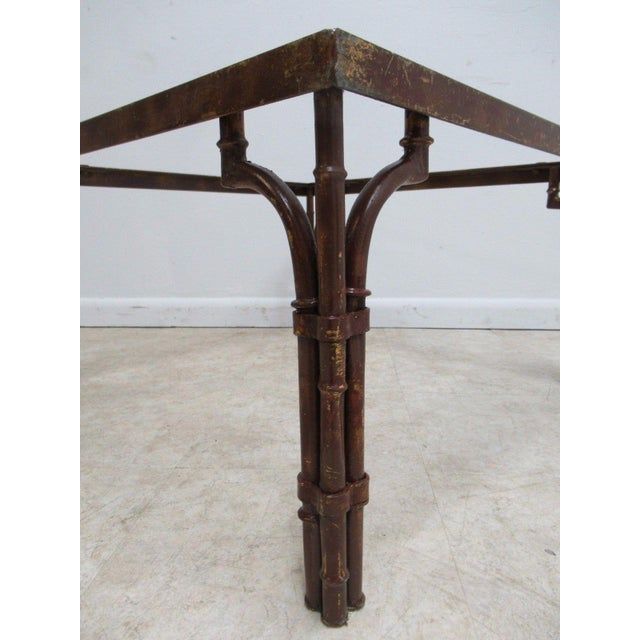 Vintage French Regency Faux Bamboo Metal Table Base - Image 5 of 6