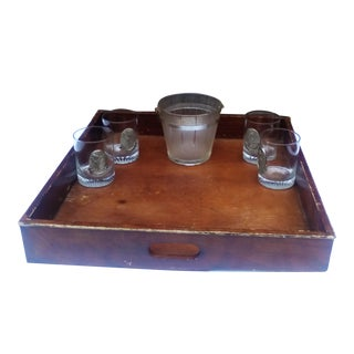 Vintage Whiskey Glasses, Ice Bucket & Solid Oak Tray - Set of 6