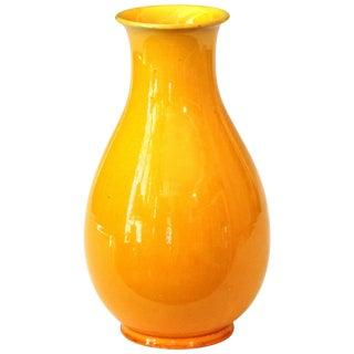 Old Awaji Pottery Golden Yellow Monochrome Crackle Glaze Yuhuchunping Vase For Sale