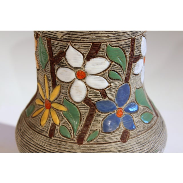 Gray Vintage Italian Art Pottery Textured Incised Blossom Raymor Vase For Sale - Image 8 of 10