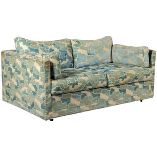 Adrian Pearsall for Craft Associates Cerulean Velvet Loveseat Sofa For Sale