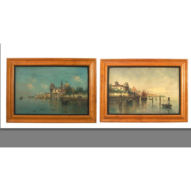 Pair of Italian Venetian Canal Scene Paintings, 19th Century For Sale - Image 4 of 4