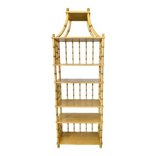 Vintage Painted Faux Bamboo Etagere For Sale