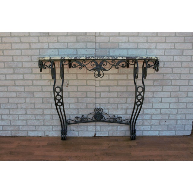 Antique French Victorian Wrought Iron Base Console Table For Sale - Image 13 of 13