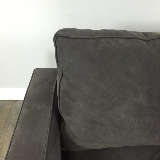 Room & Board Charcoal Suede Loveseat - Image 4 of 11