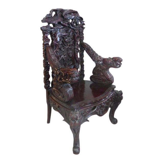 Late 19th Century Japanese Meiji Throne Chair For Sale