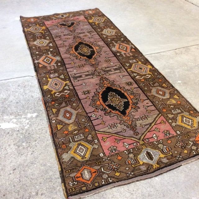 This is one of my favorites! The colors are amazing. Beautiful 50 year old Turkish runner in pinks, orange, lavender,...