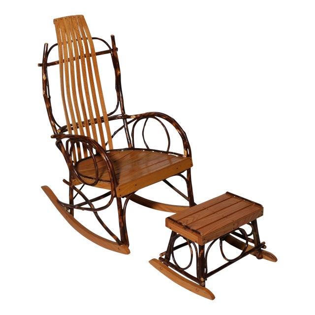 Amish Bentwood Rocker & Footstool Set For Sale