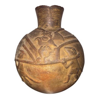 Ancient Peruvian Moche Molded Ritual Vase, 500-700 Ce For Sale