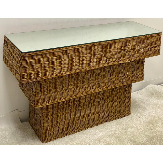 Mid-Century Modern Graduated Wicker Console Table For Sale In Atlanta - Image 6 of 7