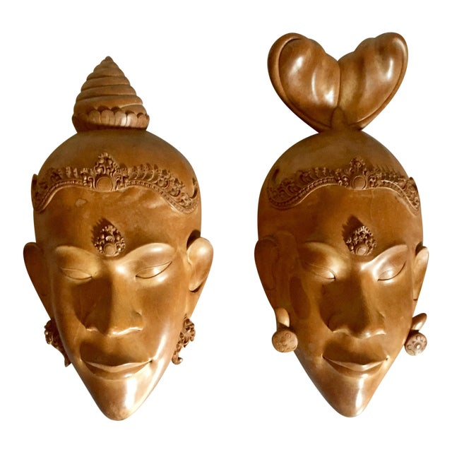 Pair of Vietnamese Carved Wood Masks For Sale